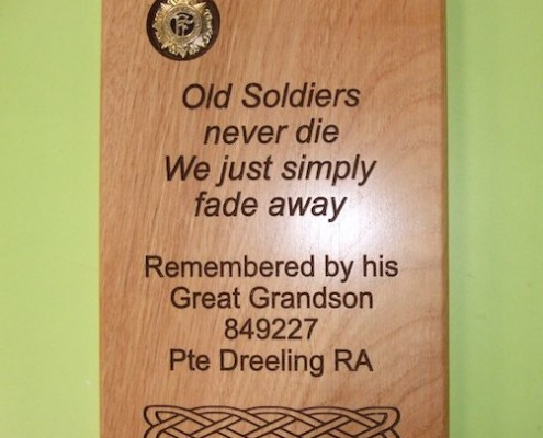 Timber Plaque Soldier